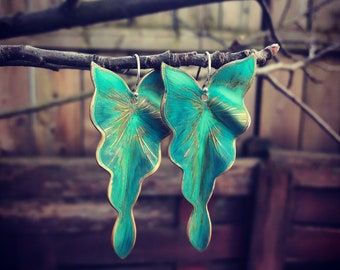 Gorgeous Verdigris Ivy leaf earrings, nature inspired earrings, leaf earrings,Large green leaf earrings,leaf jewelry, gift for her