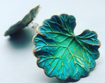 Gorgeous Verdigris Geranium Stud leaf earrings, nature inspired earrings, leaf earrings,Large green leaf earrings,leaf jewelry, gift for her