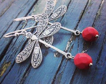 Dragonfly earrings, Dangle Earrings, Dragonfly Jewelry, pink Glass Earrings, gift for her