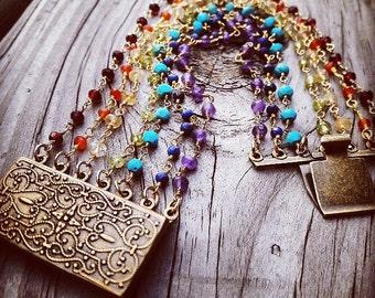 Seven chackras Beaded Bracelet.Semi Precious Stone Bracelet. Gift for Her