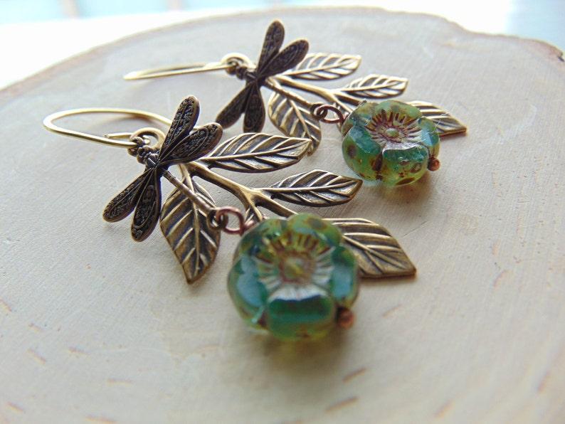 Green Dragonfly earrings Aqua Blue Glass Earrings Dragonfly Jewelry gift for her Dangle Earrings