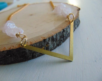 Pink Quartz Chevron Necklace, Geometric Necklace, Chevron Jewelry