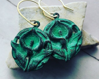 Vedigris Brass Fleur De Lis Earrings
