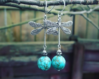 Dragonfly earrings, Dangle Earrings, Dragonfly Jewelry, Blue Turquoise Earrings, gift for her