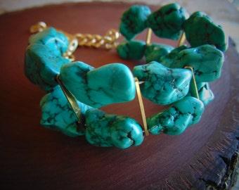 Brass And Turquoise Beaded Bracelet.Semi Precious Stone Bracelet. Gift for Her