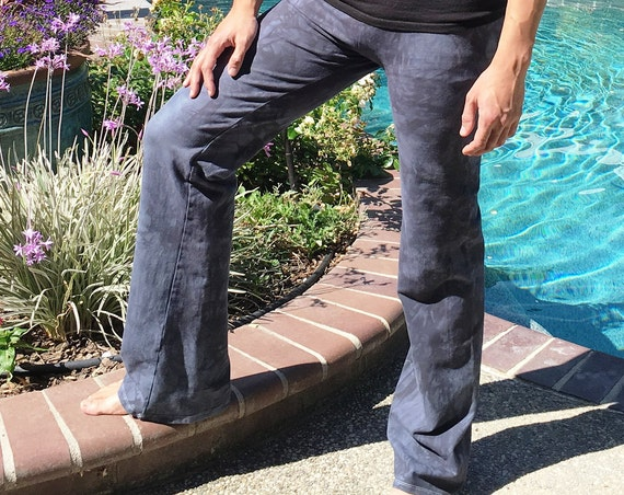 Men's Gray Hand Dyed Yoga Lounge Activewear Tie Dye Pants with Side Pockets Big and Tall Sizes Available