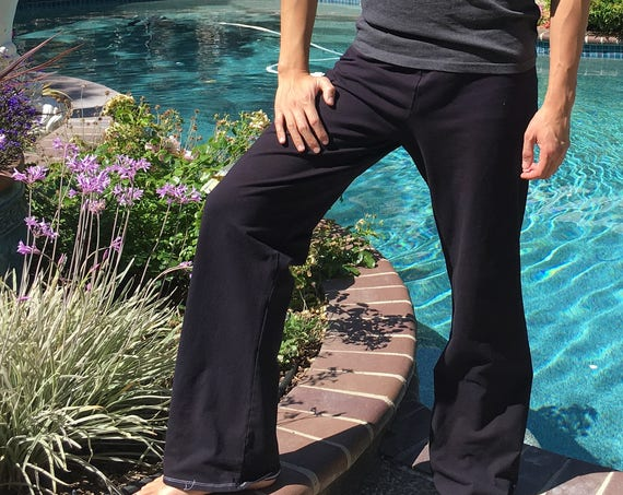 Men's Black Hand Dyed Yoga Lounge Activewear Tie Dye Pants with Side Pockets Big and Tall Sizes Available
