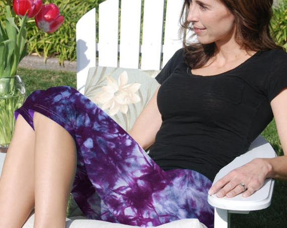 Cosmic Rich Purple Tie Dye Crop Yoga Pants. Sizes XXS-6XL Hand Dyed in the USA by Splash Dye Studio (Choose your own length)