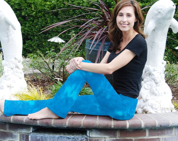 """Tall 34""""  Cosmic Turquoise Sky Tie Dye Yoga Pants Including Extra Long and Plus Sizes by Splash Dye Activewear"""