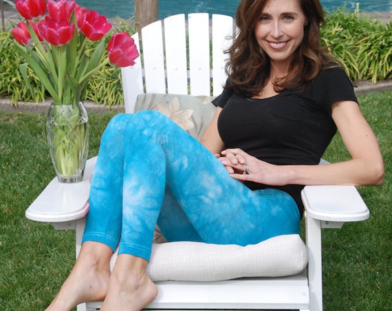 "Tall 33"" Cosmic Starling Blue Tie Dye Yoga Leggings Including Extra Long and Plus Sizes by Splash Dye Activewear"
