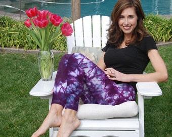 """Cosmic Rich Purple Tie Dye Yoga Leggings 30"""" Inseam"""