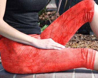 Artizan Coral Reef Cropped Yoga Leggings Hand Dyed by Splash Dye Activewear including Plus Sizes