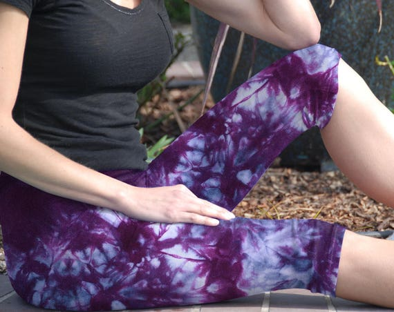 Cosmic Rich Purple Tie Dye Crop Yoga Leggings by Splash Dye Activewear (Choose your own length)