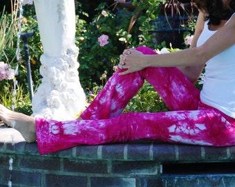 "Raspberry Popsicle Pink Tie Dye Yoga Pants 32"" inseam Including Plus Sizes"