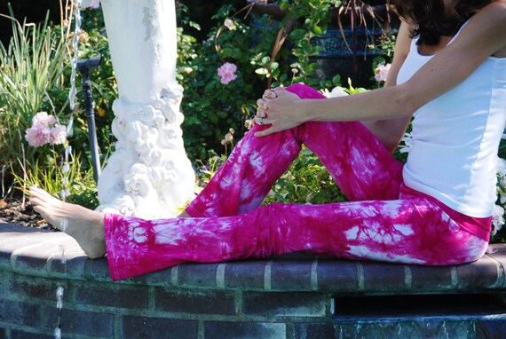 "Raspberry Popsicle Pink Tie Dye Yoga Pants 32"" inseam. Sizes XXS-6XL Hand Dyed in the USA by Splash Dye Studio"