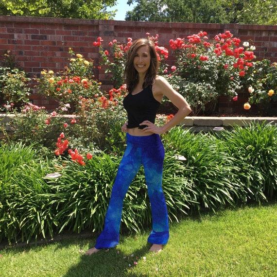 """Lapis Blue Tie Dye Yoga Pants 32"""" inseam Sizes XXS-6XL Hand Dyed in the USA by Splash Dye Studio"""