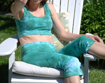 Sea Foam Green Tie Dye Crop Yoga Pants by Splash Dye Activewear (Choose your own length)