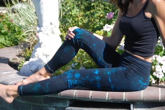 """Tall 33"""" Twilight Turquoise Tie Dye Yoga Leggings including Extra Long and Plus Size by Splash Dye Activewear"""