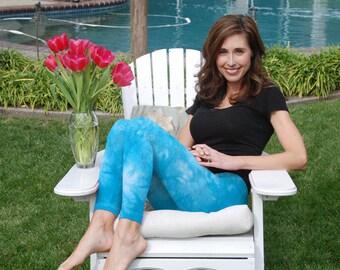 "Cosmic Starling Blue Tie Dye Yoga Leggings 30"" Inseam"