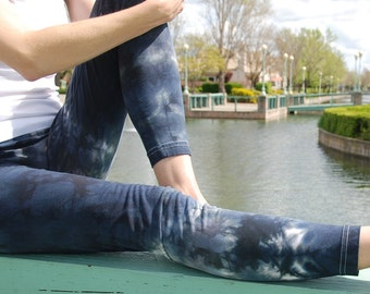 Tall Cosmic Smoke Gray Tie Dye Leggings Including Extra Long and Plus Sizes by Splash Dye Activewear