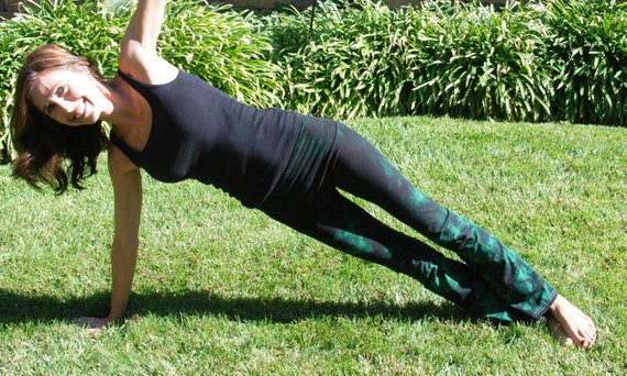 "Twilight Green Tie Dye Yoga Pants 32"" inseam. Sizes XXS-6XL Hand Dyed in the USA by Splash Dye Studio"