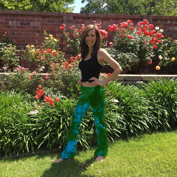 "Blue Green Fern Tie Dye Yoga Pants 32"" inseam Sizes XXS-6XL Hand Dyed in the USA by Splash Dye Studio"