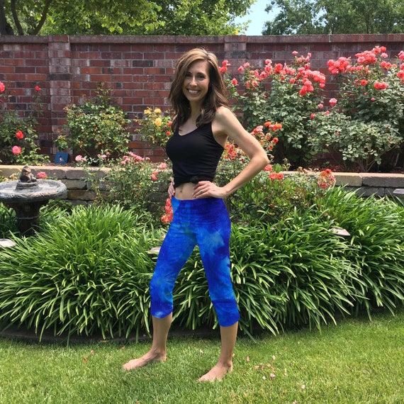 Lapis Blue Tie Dye Crop Yoga Pants in Sizes XXS-6XL Hand Dyed in the USA by Splash Dye Studio (Choose your own length)