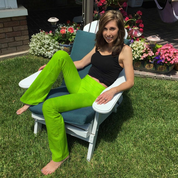 """Tall 34"""" Lime Green Hand Dyed Yoga Pants-Optional Hand Painted Chakra Design incl Extra Long and Plus Sizes by Splash Dye Studio"""
