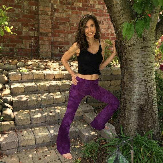 """Tall 34"""" Orchid Purple Hand Dyed Yoga Pants with Optional Hand Painted Chakra Design incl Extra Long and Plus Sizes by Splash Dye Studio"""