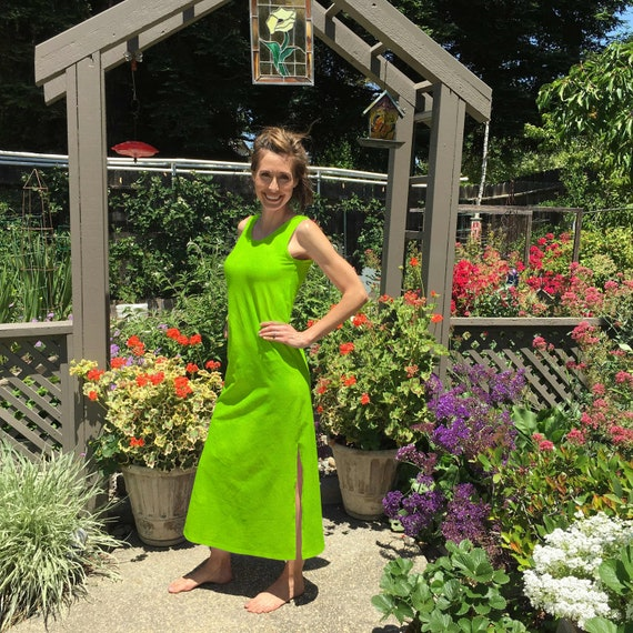Maxi Dress in Lime Green Hand Dyed Cotton Summer Dress. Great for the Beach after Yoga or Vacation. Sizes XXS-6XL Hand Dyed in the USA
