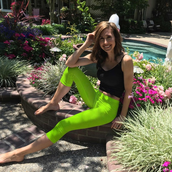 Lime Green Hand Dyed Crop Yoga Leggings by Splash Dye Activewear Sizes XXS-6XL (Choose your own length)