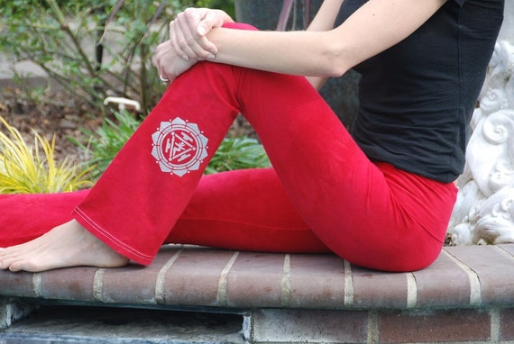 "Red Yoga Pants 32"" inseam Hand Dyed from The ArtiZan Collection with Optional Hand Painted Design Including Plus Sizes"