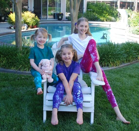 Kids Leggings Tie Dye Yoga Leggings for Babies Toddlers and Girls by Splash Dye Activewear in Choice of Colors