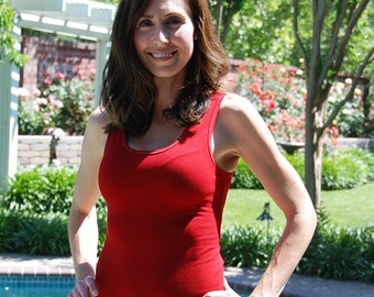Red Tank Top by Splash Dye Activewear (Matching Top For Red and Blue and also for Cherry Lemon Pants and Leggings)
