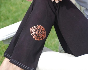 "Black Yoga Pants 32"" inseam Hand Dyed from The ArtiZan Collection with Optional Hand Painted Design Including Plus Sizes"