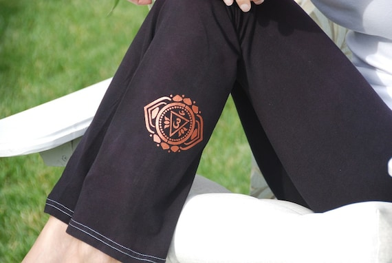 "Tall 34""  Black Hand Dyed Yoga Pants with Optional Hand Painted Chakra Design including Extra Long and Plus Sizes by Splash Dye Activewear"