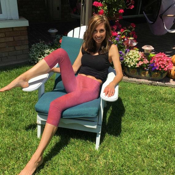 Blush Pink Hand Dyed Crop Yoga Leggings by Splash Dye Activewear Sizes XXS-6XL (Choose your own length)