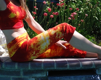 Cherry Lemon Red and Yellow Tie Dye Crop Yoga Pants by Splash Dye Activewear (Choose your own length)