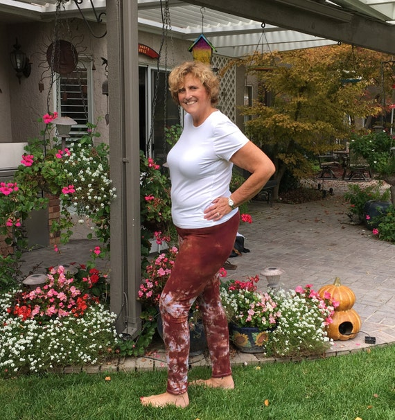 "Tall 33"" Cosmic Brown Cinnamon Tie Dye Leggings Including Extra Long and Plus Sizes by Splash Dye Activewear"