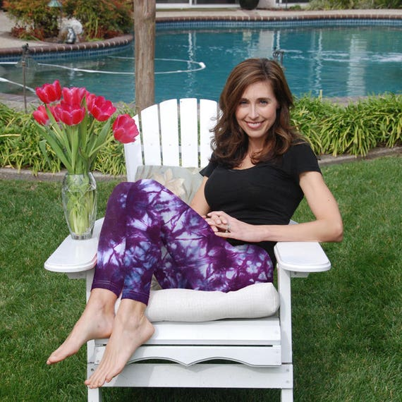 """Tall 33"""" Cosmic Rich Purple Tie Dye Yoga Leggings Including Extra Long and Plus Sizes by Splash Dye Activewear"""