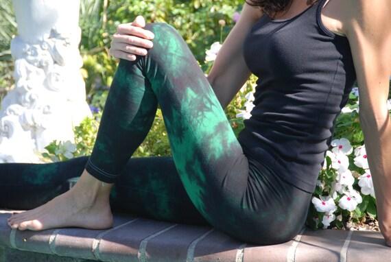 "Twilight Green Tie Dye Yoga Leggings 30"" Inseam. Sizes XXS-6XL Hand Dyed in the USA by Splash Dye Studio"