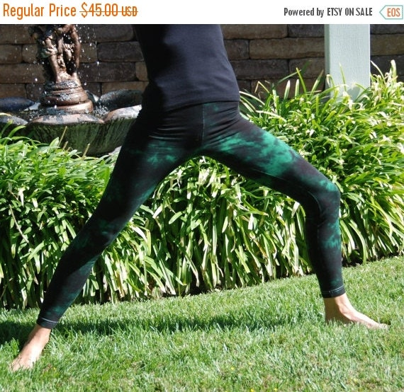 """Tall 33"""" Twilight Green Tie Dye Yoga Leggings including Extra Long and Plus Size by Splash Dye Activewear"""