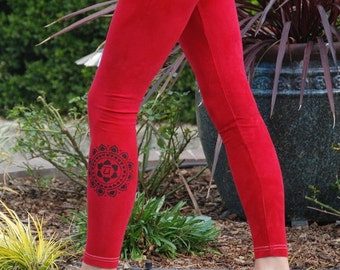 Tall Red Hand Dyed Yoga Leggings with Optional Hand Painted Chakra Design including Extra Long and Plus Sizes by Splash Dye Activewear