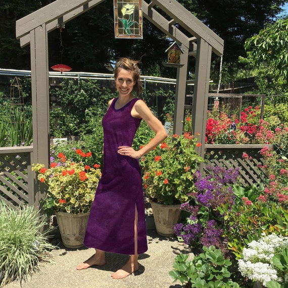 Maxi Dress in Orchid Purple Hand Dyed Cotton Summer Dress. Great for the Beach or Vacation Sizes XXS-6XL