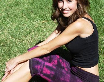 Twilight Pink Tie Dye Crop Yoga Pants by Splash Dye Activewear (Choose your own length)