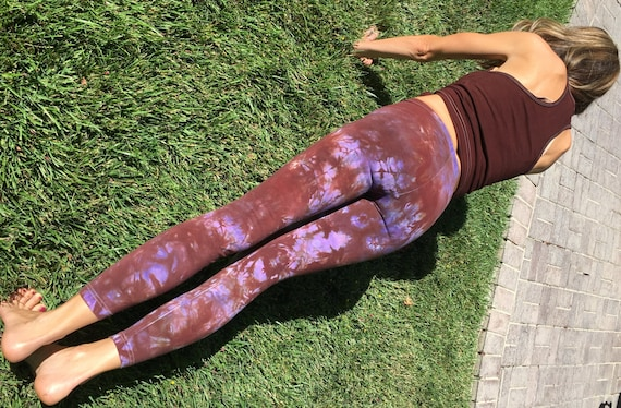 "Tall 33"" Earth Brown Purple Tie Dye Yoga Leggings Including Extra Long and Plus Sizes by Splash Dye Activewear"