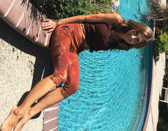 Earth Brown Orange Crop Leggings Including Plus Sizes by Splash Dye Activewear (Choose your own length)