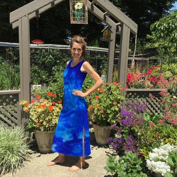 Maxi Dress in Lapis Blue Tie Dye Cotton Summer Dress. Great for the Beach after Yoga or Vacation Sizes XXS-6XL Hand Dyed in the USA