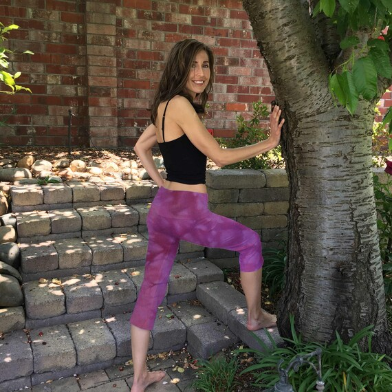 Purple Plum Blossom Cropped Yoga Pants Hand Dyed with Optional Painted Design by Splash Dye Activewear sizes XXS-6XL