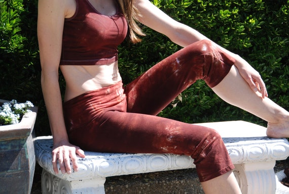 Chocolate Cinnamon Brown Tie Dye Crop Yoga Pants. Sizes XXS-6XL Hand Dyed in the USA by Splash Dye Studio (Choose your own length)